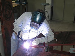 TIG welding of a bronze sculpture